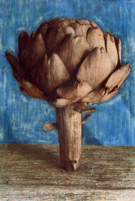 Artichaut debout : fond bleu