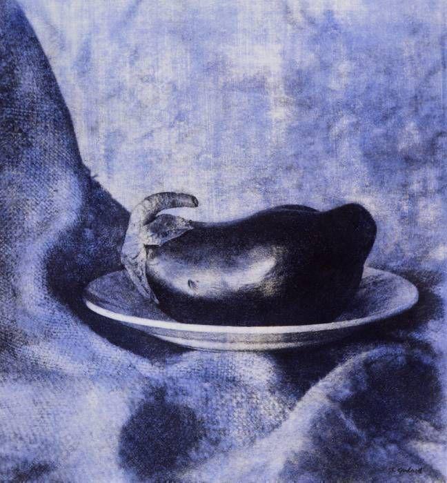 Aubergine sur toile, bleu  (1995)