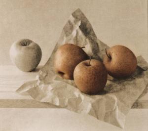 3 pommes rouilles sur papier