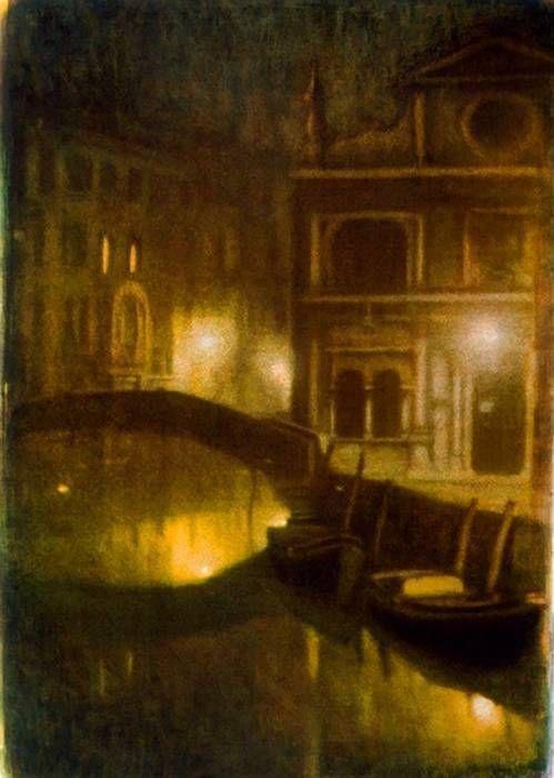 Venise: pont et 2 barques, 1989